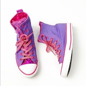 Converse All Star party high tops pink purple